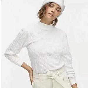 J. Crew Pointelle Mockneck Puffed Sleeve Shirt